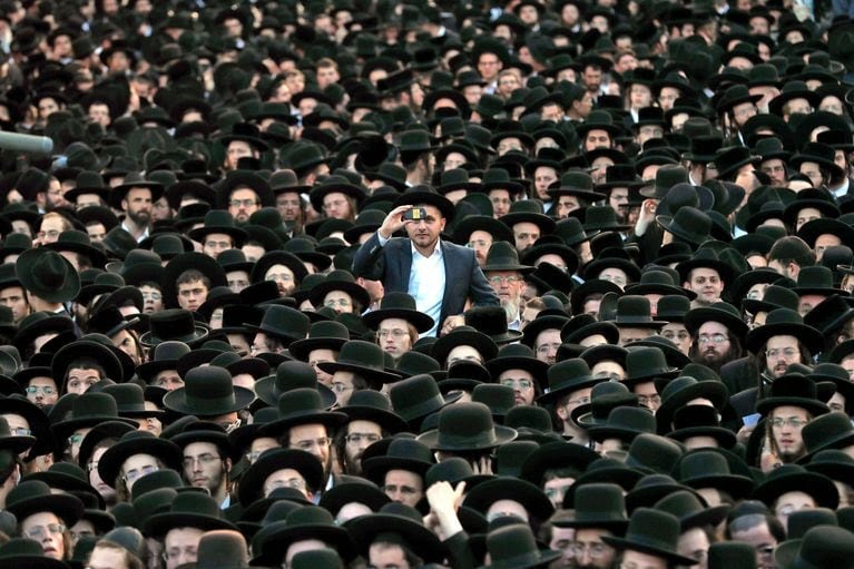 Ultra-Orthodox Jewish supporters of the United Torah Judaism Party gather in Jerusalem during the last day of election campaigns, Sept. 15. (Atef Safadi/EPA-EFE/REX/Shutterstock)